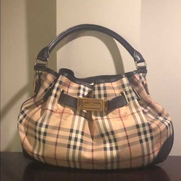 Burberry Handbags - BURBERRY Haymarket Medium Willenmore Hobo Choc